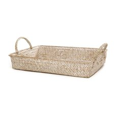 Basket Storage Rectangle w/Handles PC 34x25x6cmH Natural