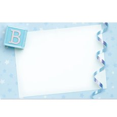 Cards Baby w/Stars & Ribbon Blue PK50