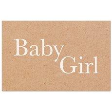 "Cards Brown Kraft ""Baby Girl"" 10x6.5cm 50pk"