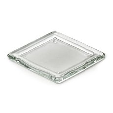 Candle Plate Glass Square 13.5x13.5x1.7cmH Clear