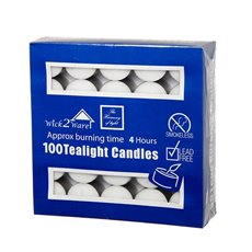Candle Tealight 4Hr x100PC Bulk Pack White