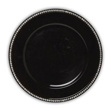 Candle Charger Plate with Diamonds Round 33cmD Shiny Black
