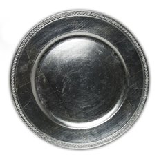 Candle Charger Plate with Diamonds Round 33cmD Silver