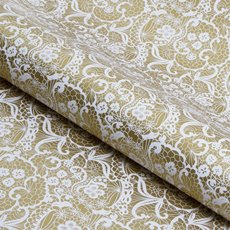 Counter Roll Lace White on Gold 80gsm (50cmx60m)