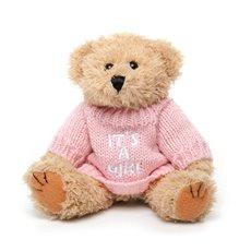 """Teddy Bear Message """"It's a Girl"""" 20cmHT. B.Pink/Brown"""