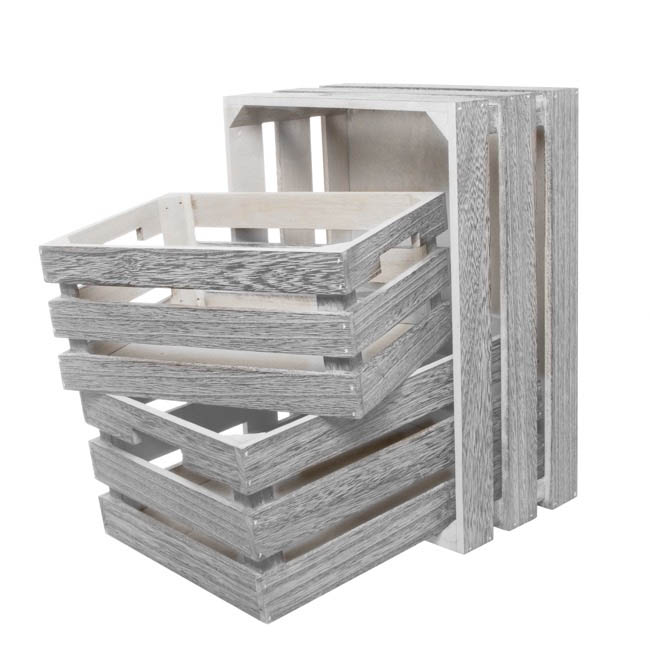 Wooden storage crate set of 3 iron grey 41x31x19cmh for Where do i find wooden crates