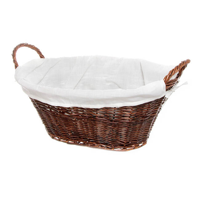 Willow Laundry Oval With Fabric Liner Dark Brown 59x43x24cm