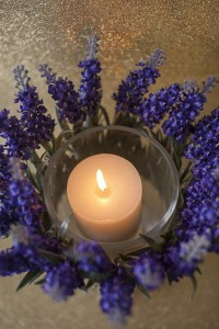 artificial lavender candle holder - candle wrapped in lavender