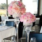 Glass vases with diamante mesh roll