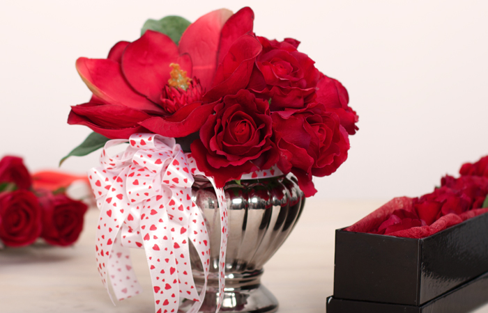 Valentines Floral arrangement with heart ribbon