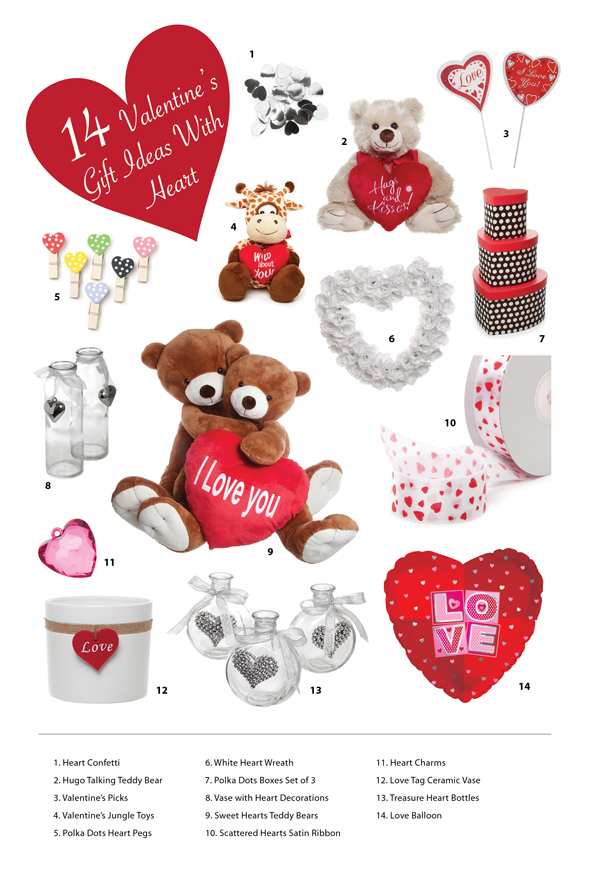 Gift Ideas for Valentine including gift wrapping, teddy bears and vases