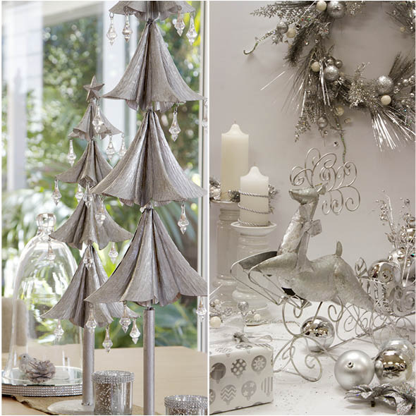 Silver Christmas Tree Decor and Reindeer Decor