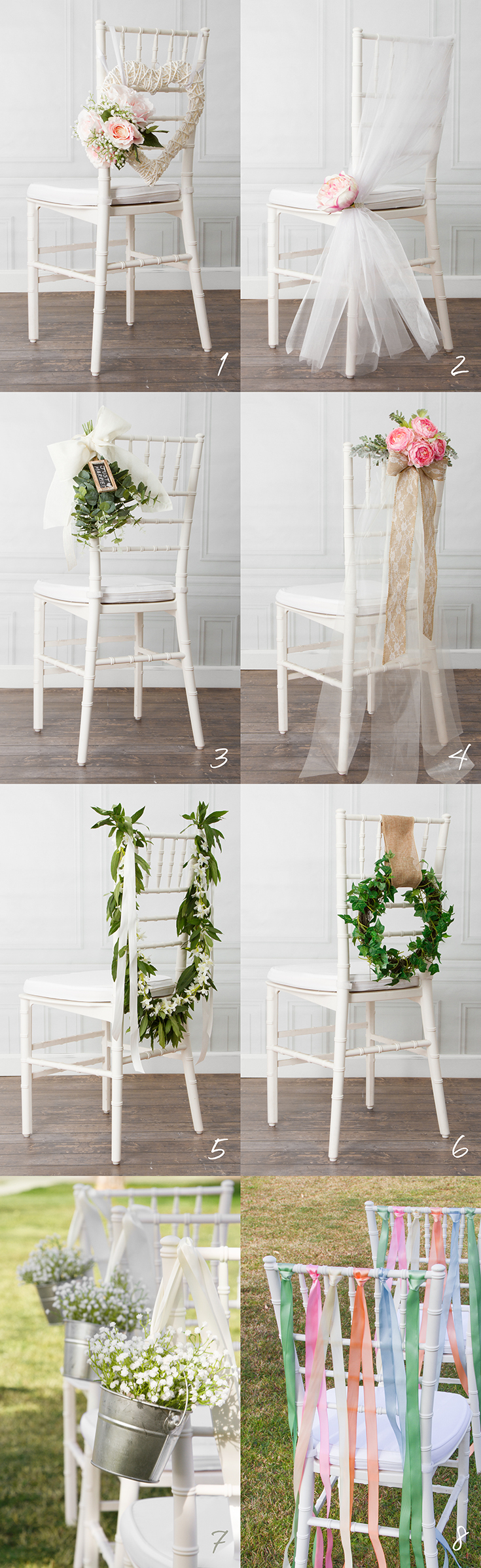 8 beautiful diy wedding chair decorations for Beautiful wedding decoration ideas
