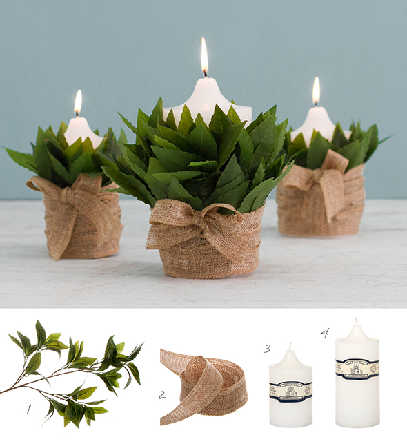 DIY candle decorations using artificial greenery, candles and jute ribbon