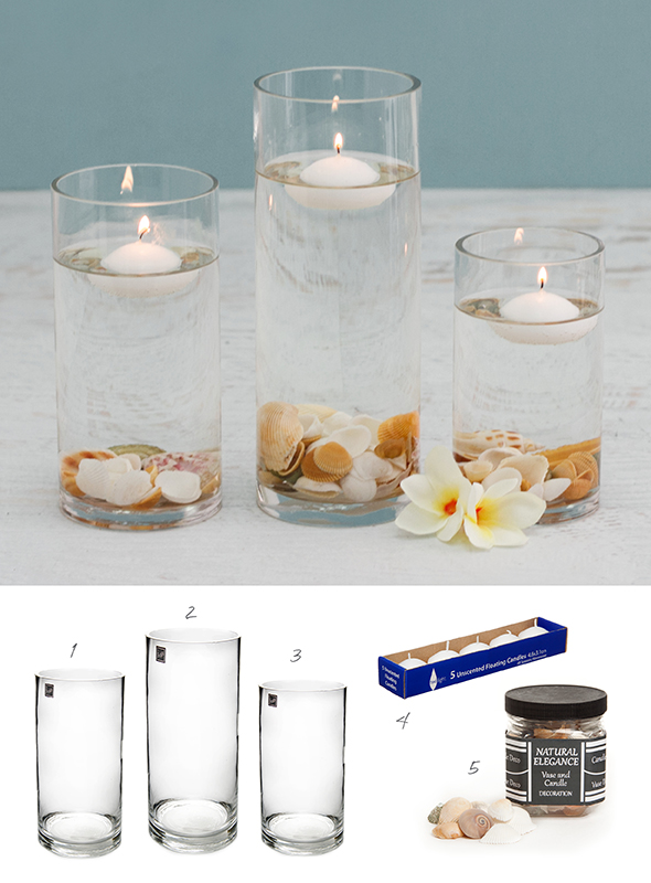 a candle decoration using vases, water, seashells and floating candles