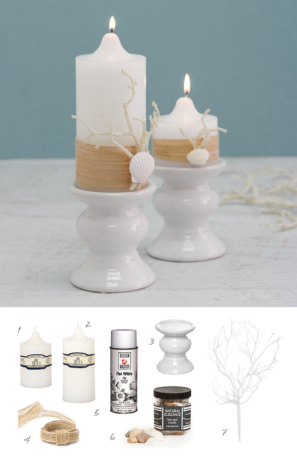 DIY candle decorations using pillar candles, seashells and string