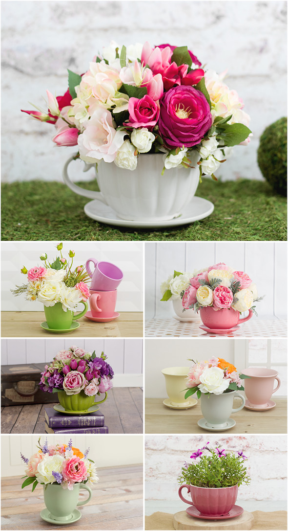floral teacup arrangements