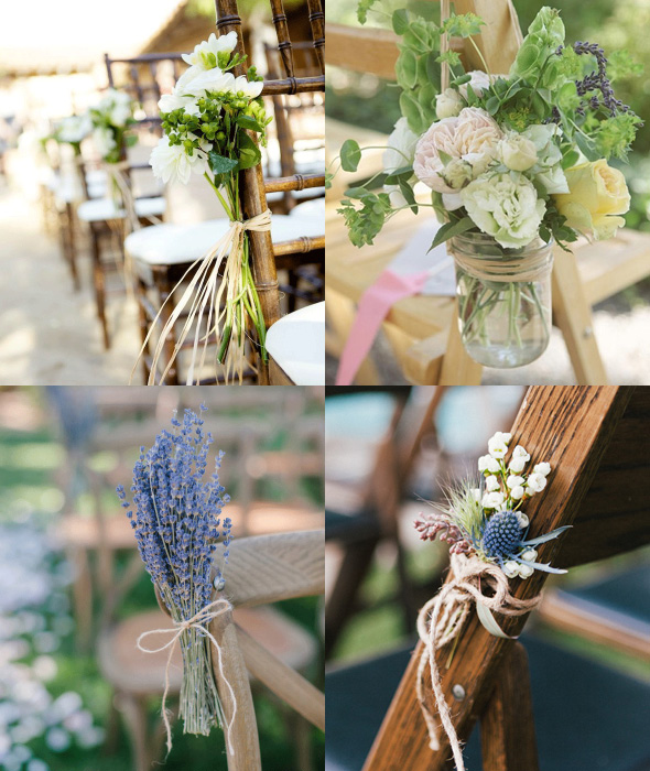 aisle chair decor with raffia