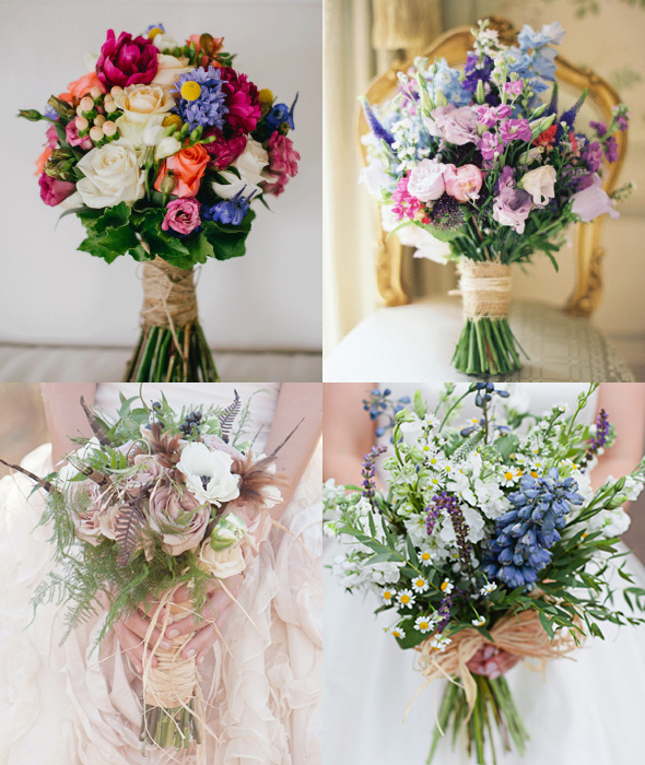 Twine and Raffia Tied Wedding Bouquets