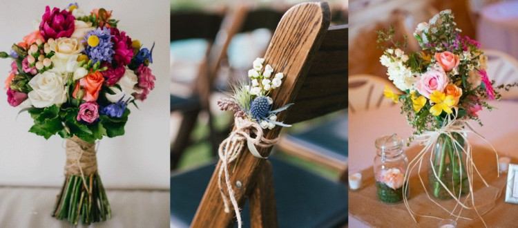 raffia and twine wedding decorations
