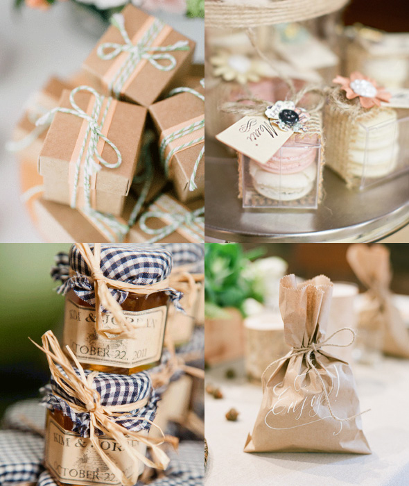 raffia and twine wedding bomboniere