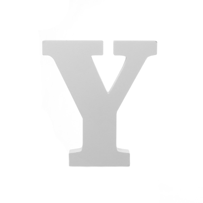 Single Wooden Letter Y White (18cmH)