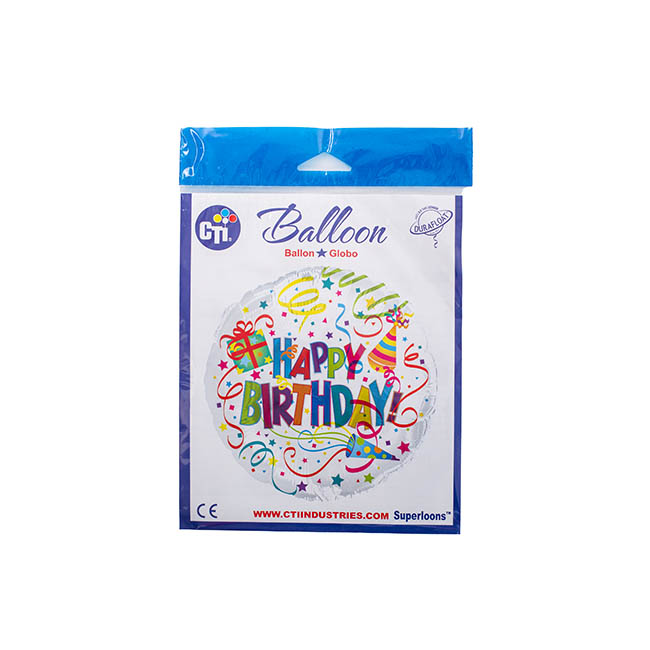 Foil Balloon 17(42.5cm Dia) Happy Bday with Party Streamers