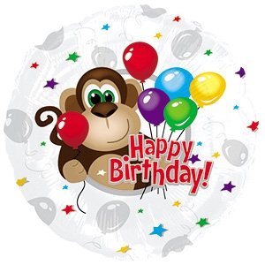 Foil Balloon 17 (42.5cm Dia) Round Happy Birthday Monkey