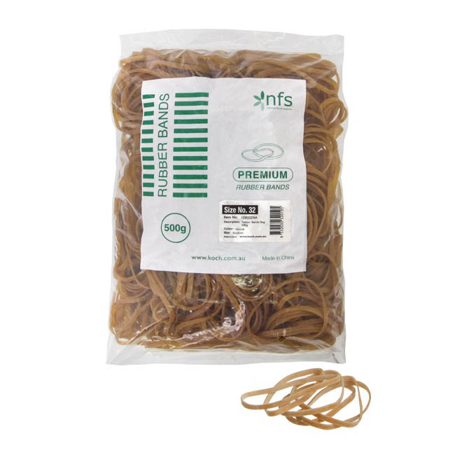 Rubber Bands Natural Bag 500g Size 32 (75mmLx3mmW)