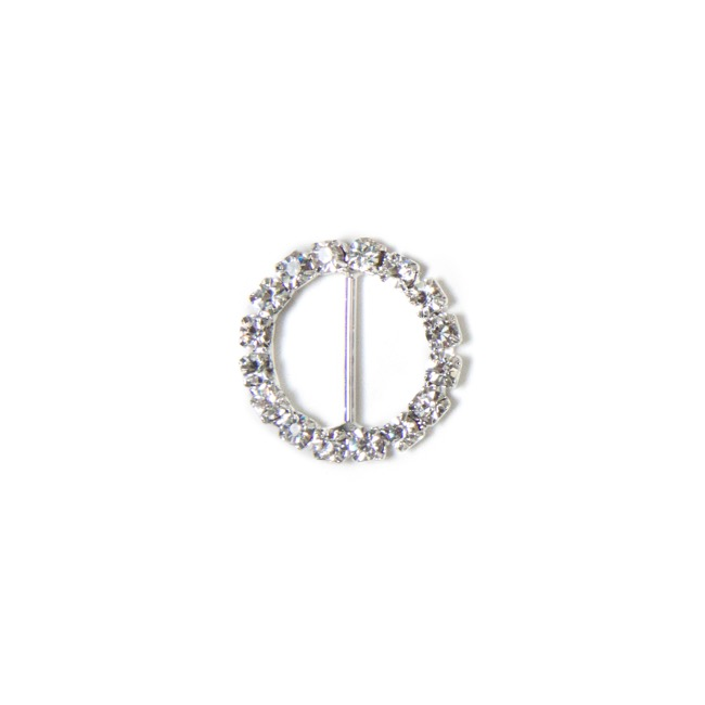Corsage Buckle Diamante Round Mini Silver (25mm) Pack 12