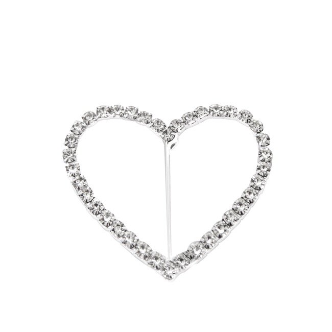 Corsage Buckle Diamante Heart Large(48mmx55mm) Pack 12