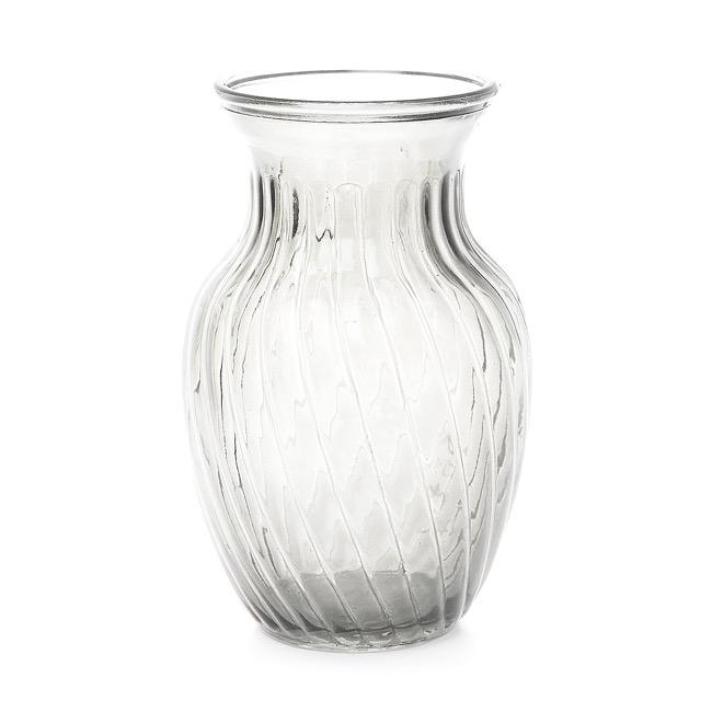 Large Clear Glass Twist Vase