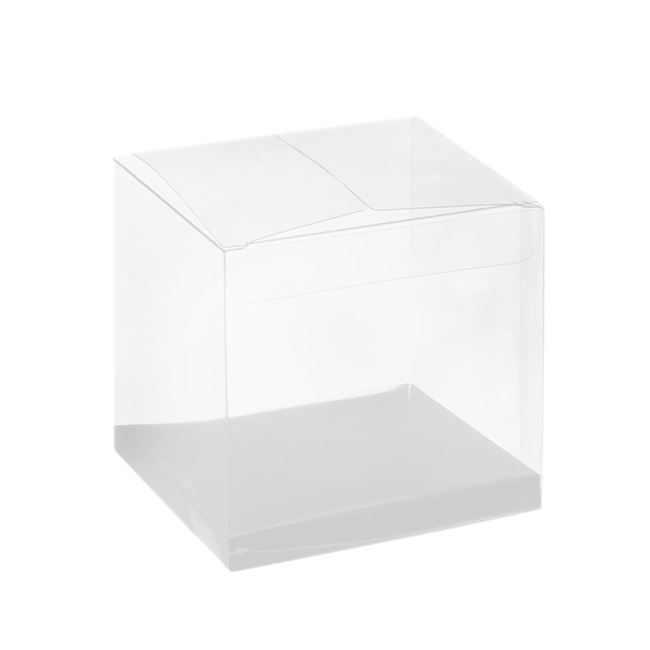 Cupcake Box Clear with Base 30mic White (90x90x90mm) Pack 10