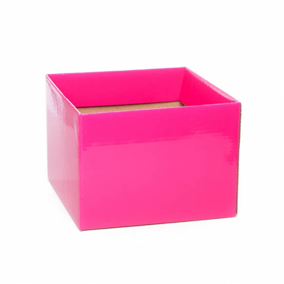 Posy Box Medium No.6 with Flap Hot Pink (16x16x12cmH)