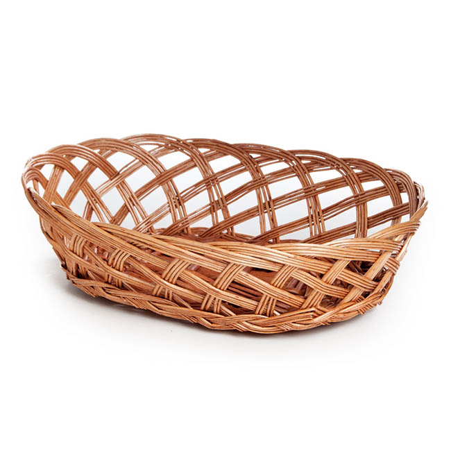 Willow Bread Basket Tray Oval Natural (32x23x9cmH)