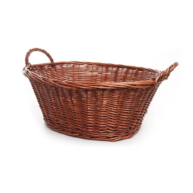 Willow Laundry Basket Oval Dark Brown (48x34x22cmH)
