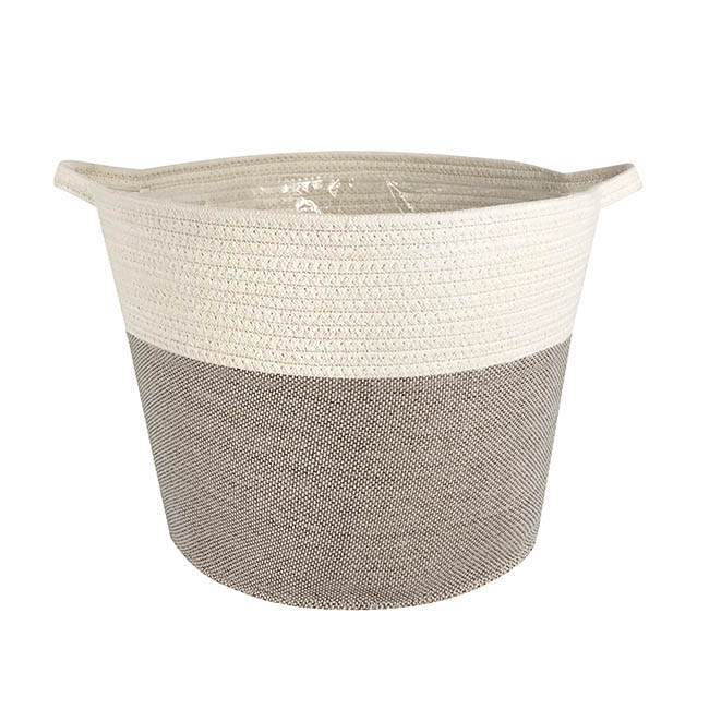 Phuket Woven Planter White & Grey (35Dx30cmH)