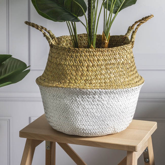 Tonga Seagrass Planter Basket Natural & White (27Dx26cmH)