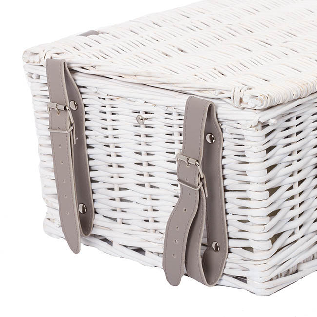 4 Person Premium Picnic Basket Chest White (44x30x20cmH)