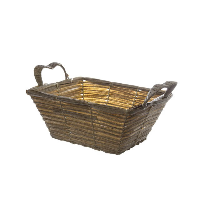 Artificial Wicker Basket Hamper Rectangle Pewter(29X24X13cm)