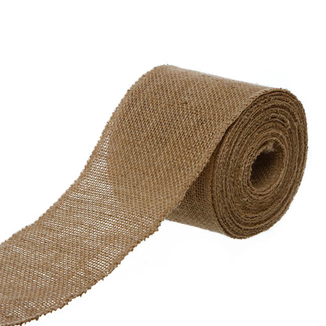 Natural Jute Ribbon Wide Sewn Edge Natural (100mmx10m)