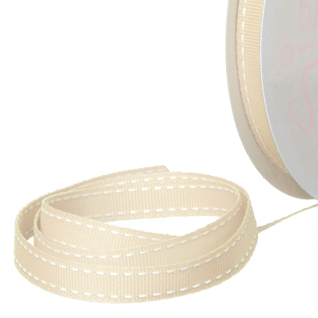 Ribbon Grosgrain Saddle Stitch Cream (10mmx20m)