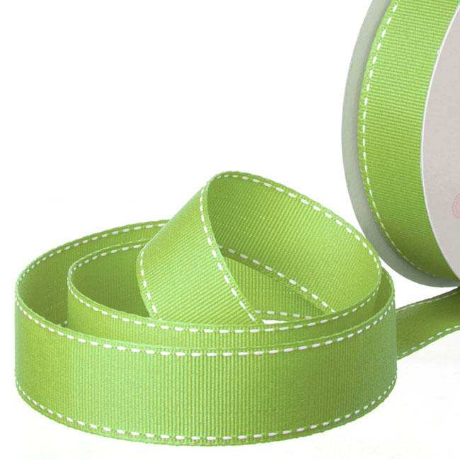 Ribbon Grosgrain Saddle Stitch Lime (25mmx20m)