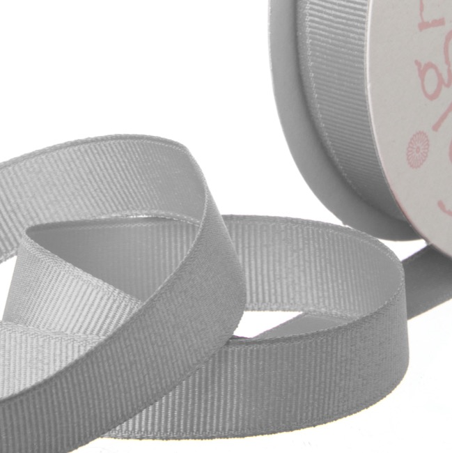 Ribbon Plain Grosgrain Silver (25mmx20m)