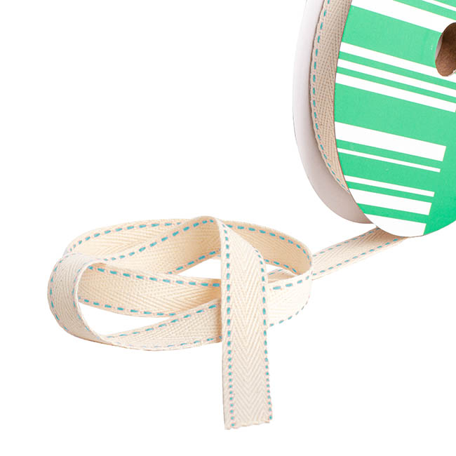 Herringbone Twill Ribbon Stitched Aqua (15mmx20m)