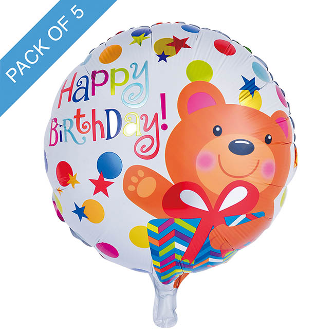 Foil Balloon 18 (45cmD) Pack5 Round Happy Birthday Bear