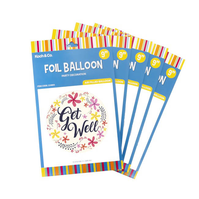 Foil Balloon 9 (22.5cmD) Pack 5 Round Frangipani Get Well