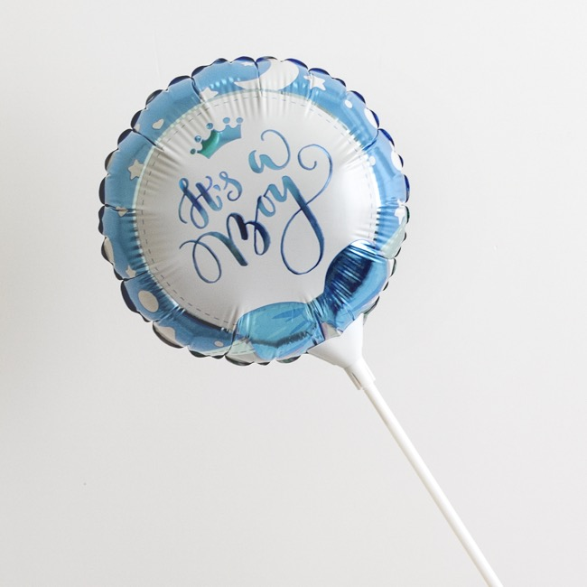Foil Balloon 9 (22.5cmD) Pack 5 Round Ribbon Its a Boy