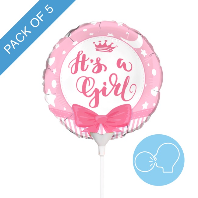 Foil Balloon 9 (22.5cmD) Pack 5 Round Ribbon Its a Girl