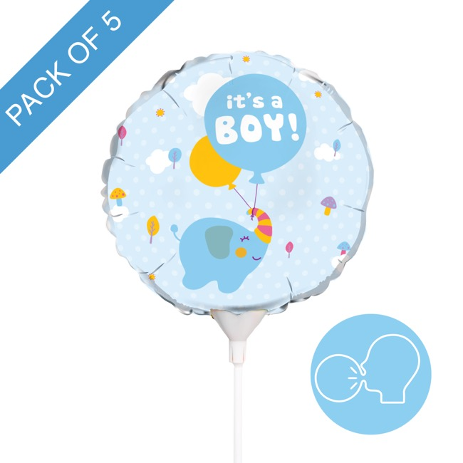 Foil Balloon 9 (22.5cmD) Pack 5 Round Elephant Its a Boy